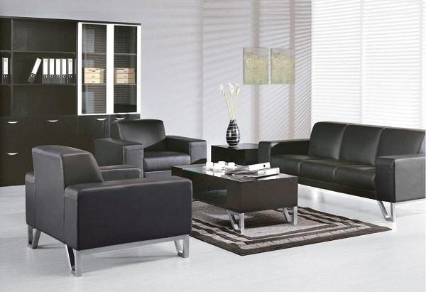 Sofa văn phòng màu đen lịch lãm